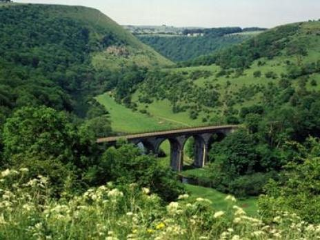 A view over the Monsal Dale and the Headstone Viaduct