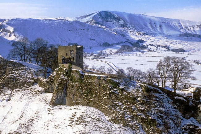 Peveril Castle in the snow